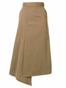 G.V.G.V. asymmetric gabardine midi skirt - Brown