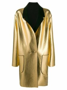 Pinko contrast single-breasted coat - Gold
