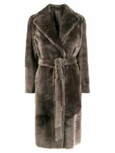 Desa Collection belted shearling coat - Grey