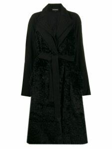 Ann Demeulemeester panelled longline coat - Black