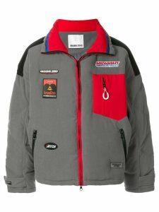 Ground Zero patch detail zip-front oversized coat - Grey