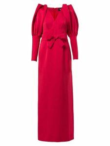 Paule Ka pleated shoulder long gown - Red