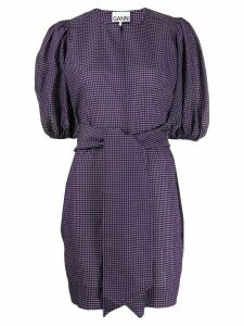 Ganni checked puff-sleeve dress - PURPLE