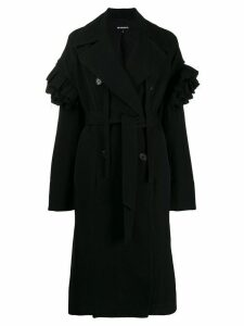 Ann Demeulemeester ruffled sleeve trench coat - Black