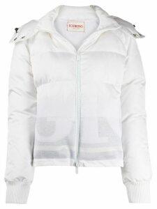 Iceberg hooded logo padded coat - White