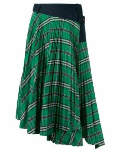 Cédric Charlier checked asymmetric hem skirt - Green