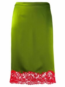 Versace lace-trimmed slip skirt - Green