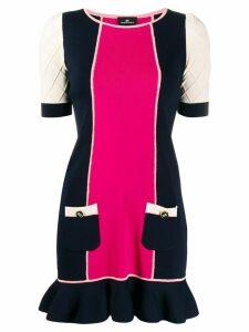 Elisabetta Franchi colour blocked short dress - Blue