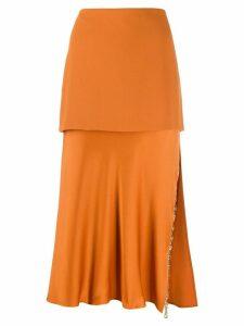 Versace tiered Greek Key skirt - Orange