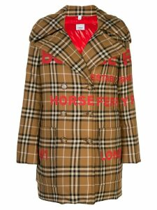 Burberry Horseferry print oversized pea coat - Brown