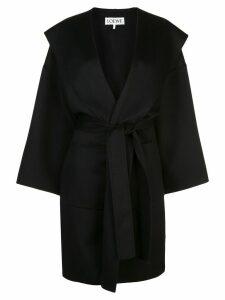 Loewe oversized hood belted coat - Black
