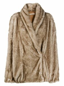 Mes Demoiselles faux fur wrap coat - Brown