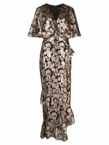 Saloni metallic rose brocade dress - Black