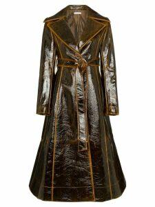 Rejina Pyo Collared Patent Leather Trench Coat - Brown