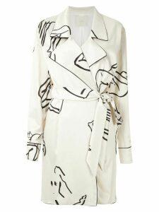 Framed printed wrap shirt dress - NEUTRALS