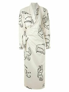 Framed printed wrap gown - NEUTRALS