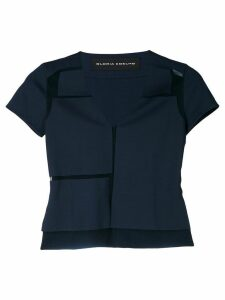 Gloria Coelho geometric panels blouse - Blue
