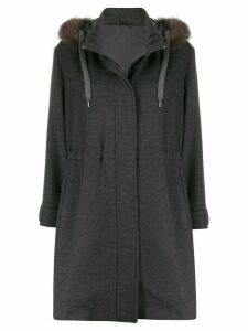 Brunello Cucinelli faux-fur trim hooded coat - Grey