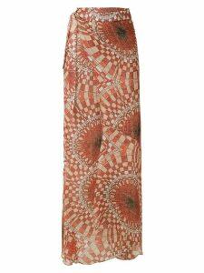 Amir Slama printed silk wrap skirt - Red