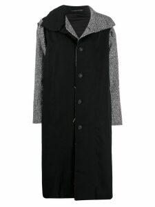 Yohji Yamamoto herringbone patchwork coat - Black