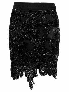 Amen sequin embroidered skirt - Black