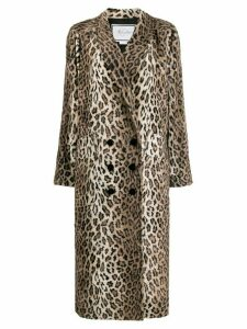 Redemption leopard print double breasted coat - Brown