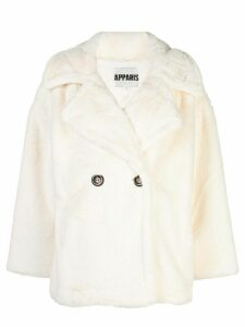 Apparis Anais double-breasted faux-fur coat - White