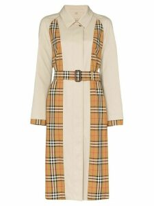 Burberry vintage check panelled trench coat - Brown
