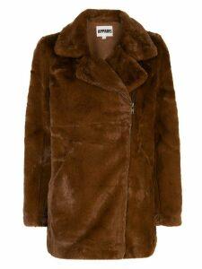 Apparis Rose midi biker jacket - Brown