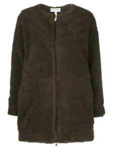 Apiece Apart collarless faux-shearling coat - Brown