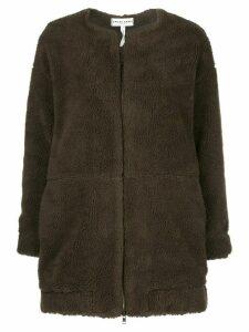 Apiece Apart collarless faux-shearling coat - Brown