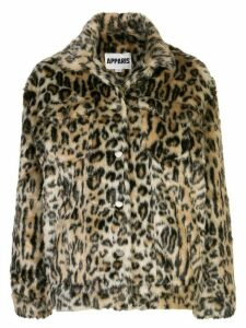 Apparis Lauren leopard faux-fur coat - Brown