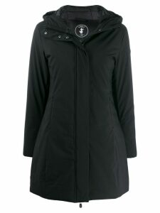 Save The Duck logo hooded raincoat - Black