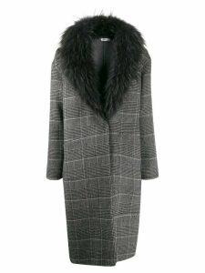 Liska plaid cocoon coat - Grey