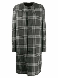 Marni check print single breasted coat - Grey