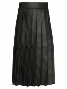 Xu Zhi Pleated Faux Leather Midi Skirt - Black