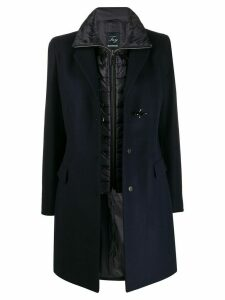 Fay layered single-breasted coat - Blue