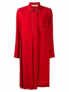 Marni pleated shirt dress - Red