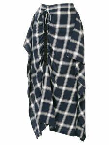 McQ Alexander McQueen asymmetric check skirt - Blue