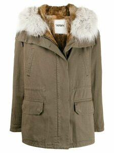 Yves Salomon Army fur trimmed parka coat - Green