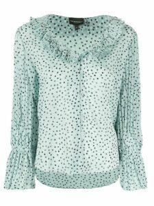 Emporio Armani polka-dot frill blouse - Green