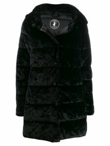 Save The Duck velvet effect padded coat - Black