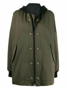 Yohji Yamamoto contrast hood coat - Green