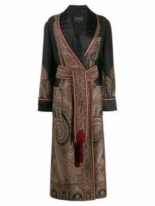 Etro jacquard belted coat - Black