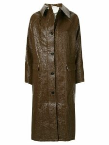 Kassl Editions double-faced lacquer long coat - Brown