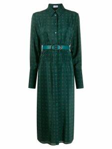 Salvatore Ferragamo Gancini motif shirt dress - Green