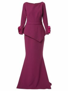 Safiyaa London long sleeve floral cuff gown - PURPLE