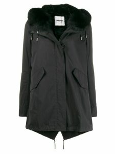 Yves Salomon Army fur trimmed parka coat - Black