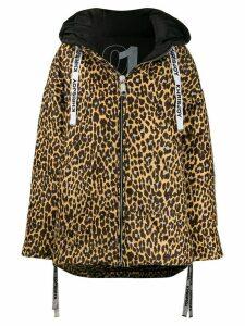 Khrisjoy oversized leopard-print coat - Black