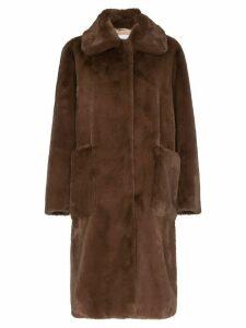 STAND STUDIO Taylor faux fur midi-coat - Brown